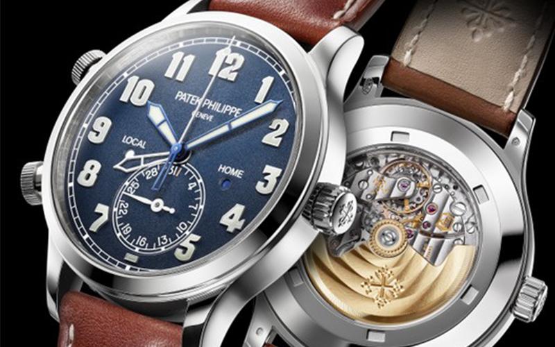 Patek Philippe Calatrava Pilot Travel Time 5524 Automatic White gold case Leather bracelet Men's watch/Unisex Sapphire Glass Blue dial Skeletonized Display Back Luminescent Hands