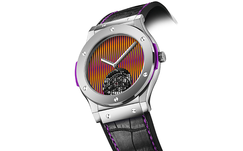Hublot Classic Fusion Tourbillon Cruz-Diez with platinum bezel and purple composite bezel lug