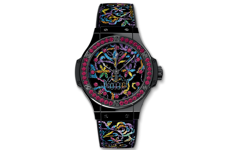 Hublot Big Bang Broderie 343.CS.6599.NR.1213 Automatic Ceramic case HUB1110 caliber 25 jewels 10 ATM water resistace Sapphire Glass No numerals Display Back Center Seconds Gemstone Limited Edition Screw-Down Crown Only Original Parts PVD/DLC coating