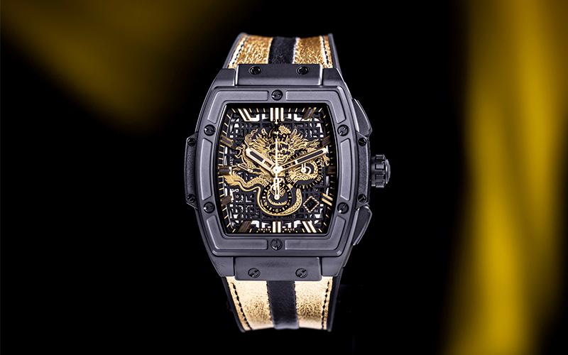 Hublot Spirit of Big Bang 601.OM.0183.LR Automatic Rose gold case Crocodile skin bracelet Men's watch/Unisex Sapphire Glass Black bracelet Chronograph Skeletonized