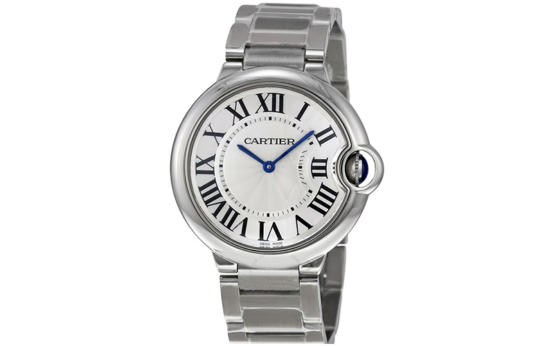 Cartier Ballon Bleu W6920085 Steel case Crocodile skin Ladies' watch 076 caliber Automatic Sapphire Glass Steel bezel Silver dial Roman numerals