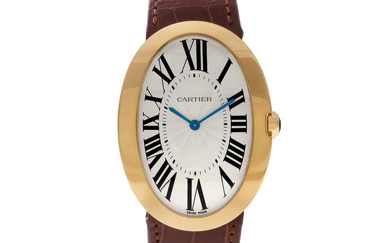 Cartier Baignoire W8000017 Quartz Rose gold case Crocodile skin Ladies' watch Rose gold case Sapphire Glass Silver dial Roman numerals Buckle clasp Blue Steel Hands